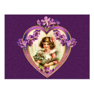 紫色のバレンタインデーの郵便はがき ポストカード