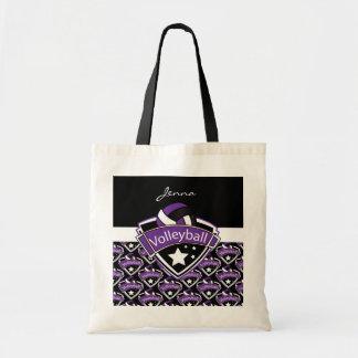 紫色のバレーボールのロゴ トートバッグ
