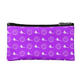 紫色のバレーボールパターンクラッチ コスメティックバッグ