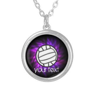 紫色のバレーボール シルバープレートネックレス