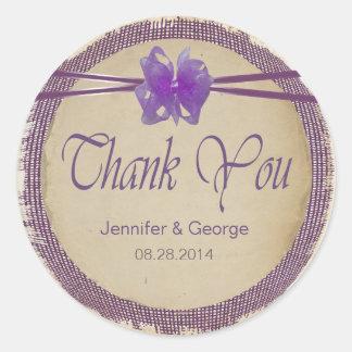 紫色のバーラップの結婚式はPBSF感謝していしています ラウンドシール