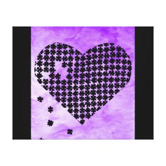 紫色のパズルのハート キャンバスプリント