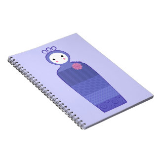 紫色のパッチワークの人形のノート ノートブック