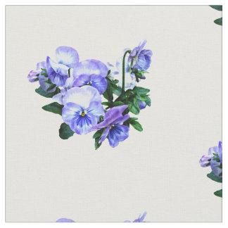 紫色のパンジーおよび葉のグループ ファブリック