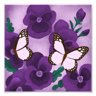 紫色のパンジーおよび蝶 フォトプリント