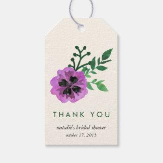紫色のパンジーのブライダルシャワーはメッセージカード感謝していしています ギフトタグ