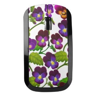 紫色のパンジーの庭によっては無線マウスが開花します ワイヤレスマウス
