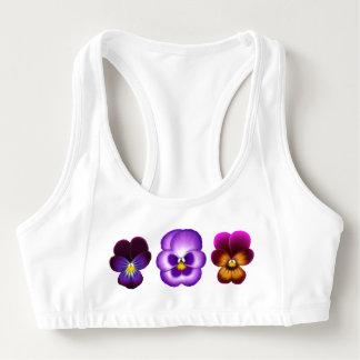 紫色のパンジーの花柄のスポーツのブラ スポーツブラ
