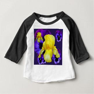 紫色のパンジーの黄色アイリス庭の芸術 ベビーTシャツ
