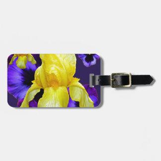 紫色のパンジーの黄色アイリス庭の芸術 ラゲッジタグ