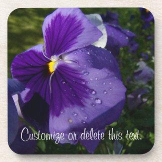 紫色のパンジー; カスタマイズ可能 コースター