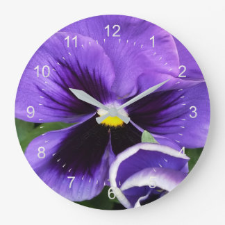 紫色のパンジー ラージ壁時計