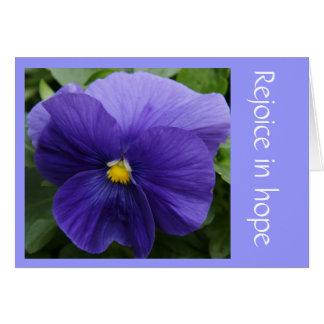 紫色のパンジー、信頼(ロマン)のwの聖なる書物、経典の詩 カード