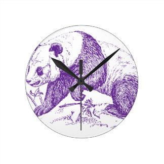 紫色のパンダくま ラウンド壁時計