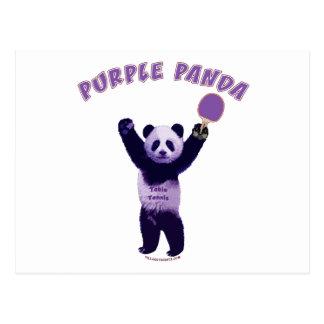 紫色のパンダの卓球 ポストカード