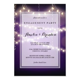 紫色のパーティー星明かりのライト婚約 12.7 X 17.8 インビテーションカード