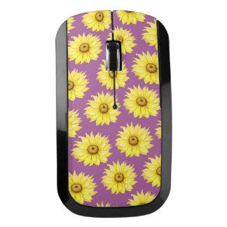 紫色のヒマワリパターン ワイヤレスマウス