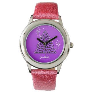 紫色のヒョウのチータのクリスマスツリー 腕時計