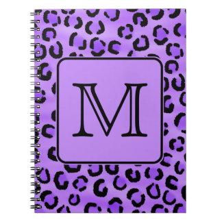 紫色のヒョウのプリントのカスタムのモノグラム ノートブック