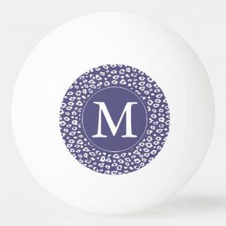紫色のヒョウのプリントのモノグラム 卓球ボール