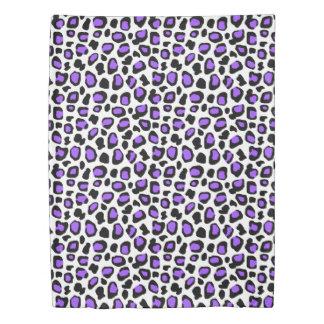 紫色のヒョウはアニマルプリントパターン女の子に斑点を付けます 掛け布団カバー