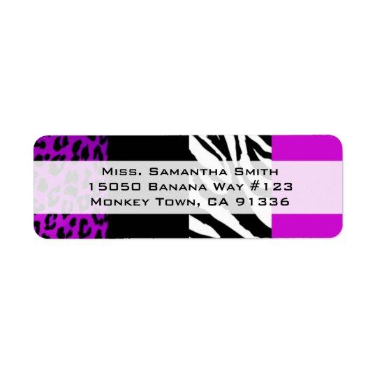 紫色のヒョウ及びシマウマのアニマルプリントの差出人住所 返信用宛名ラベル