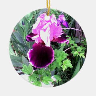 紫色のビロードのアイリス セラミックオーナメント