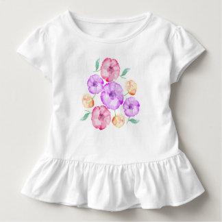 紫色のピンクおよびオレンジアネモネの花柄の水彩画 トドラーTシャツ
