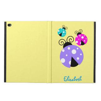 紫色のピンクおよび青いPersonlizedの3匹のてんとう虫 Powis iPad Air 2 ケース