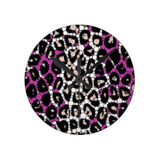 紫色のピンクのチータの円の抽象芸術 ラウンド壁時計
