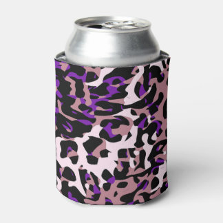 紫色のピンクのチータの抽象芸術 缶クーラー
