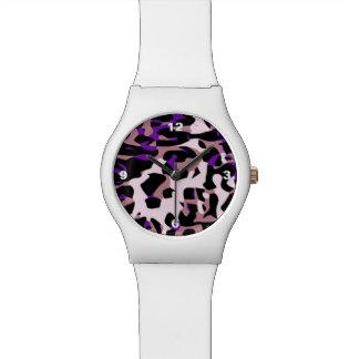 紫色のピンクのチータの抽象芸術 腕時計
