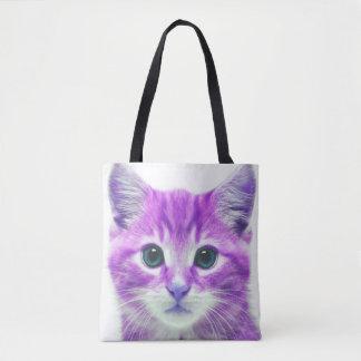 紫色のピンクの子ネコの子猫CAT トートバッグ