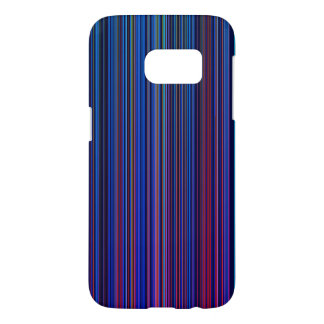 紫色のピンクの水の青くストライプのな電話箱 SAMSUNG GALAXY S7 ケース