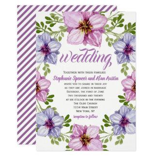 紫色のピンクの花のリースの結婚式招待状 カード