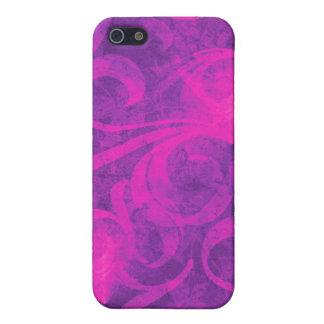 紫色のピンクの花の渦巻の華麗さのガーリーなパターン iPhone 5 カバー