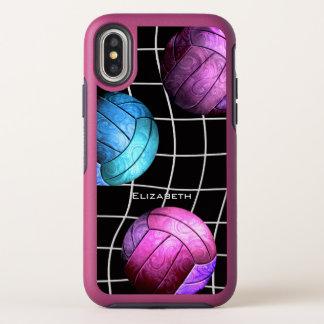 紫色のピンクの青い名前をカスタムするの女性のバレーボール オッターボックスシンメトリー iPhone X ケース
