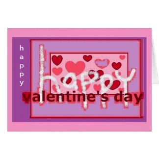 紫色のピンクピクセル芸術のバレンタインデー カード