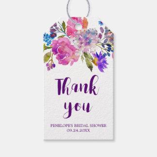 紫色のピンク及び青の花のブライダルシャワーは感謝していしています ギフトタグ