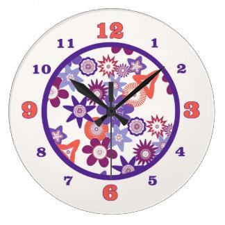 紫色のファンタジーの花模様 ラージ壁時計