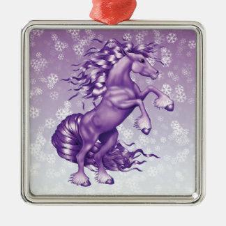 紫色のファンタジー シルバーカラー正方形オーナメント