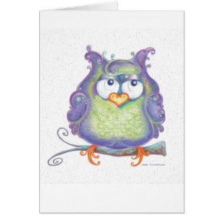 紫色のフクロウの挨拶状 カード