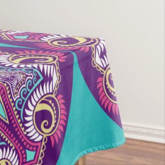 紫色のフラクタルの曼荼羅のヒトデのオーナメントパターン テーブルクロス