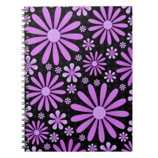 紫色のフラワーパワーのノート ノートブック