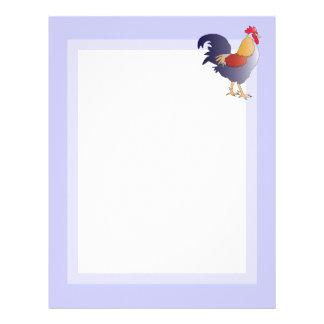 紫色のフランスのなオンドリのエレガントなスケッチ レターヘッド