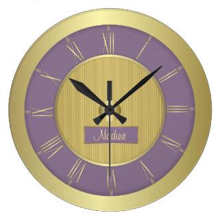 紫色のブドウおよび金ゴールド ラージ壁時計