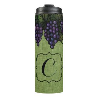 紫色のブドウ、モノグラム、カスタムな熱タンブラー タンブラー