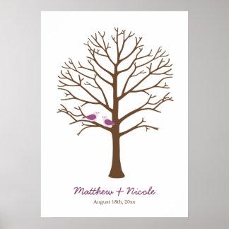 紫色のブラウンの鳥の指紋の木の結婚式 ポスター