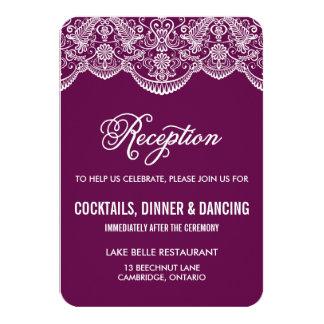 紫色のブロケードのレースの結婚披露宴カード カード