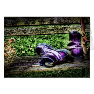 紫色のブーツカード グリーティングカード
